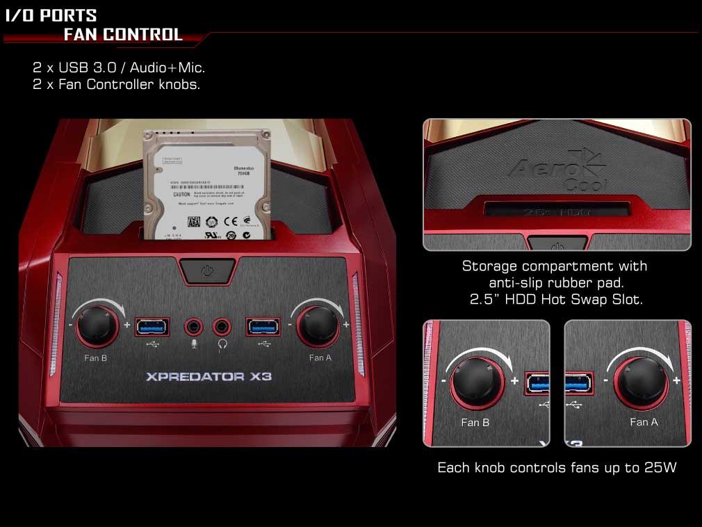 X-PREDATOR X3 Avenger Top Dock Gaming Case Fan Control
